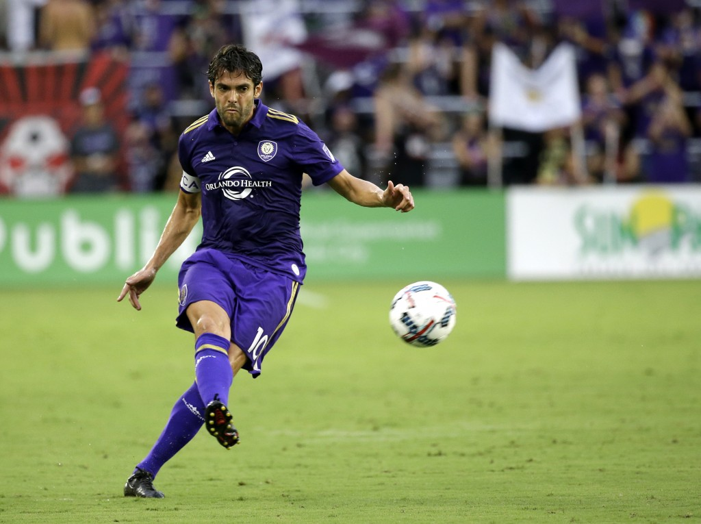 FILE - In this Friday, July 21, 2017 file photo, Orlando City's Kaka takes a free kick against Atlanta United in Orlando, Fla. The international socce...