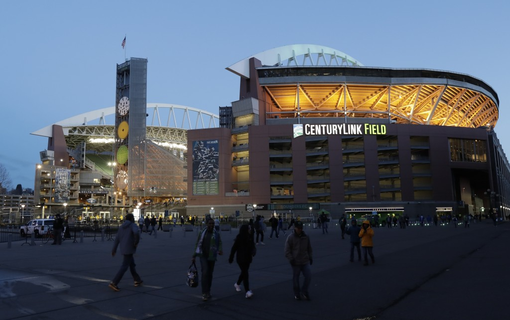 FILE - In this March 1, 2018, file photo, CenturyLink Field is shown at twilight before a CONCACAF Champions League soccer match between the Seattle S...