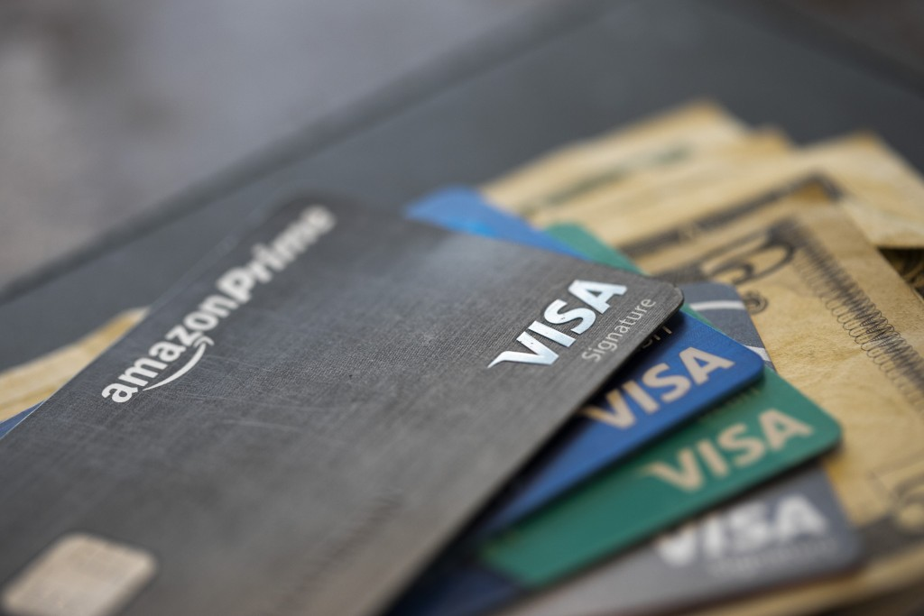 This Sunday, Aug. 11, 2019, photo shows credit cards in New Orleans. On Thursday, Nov. 7, the Federal Reserve releases its August report on consumer b...
