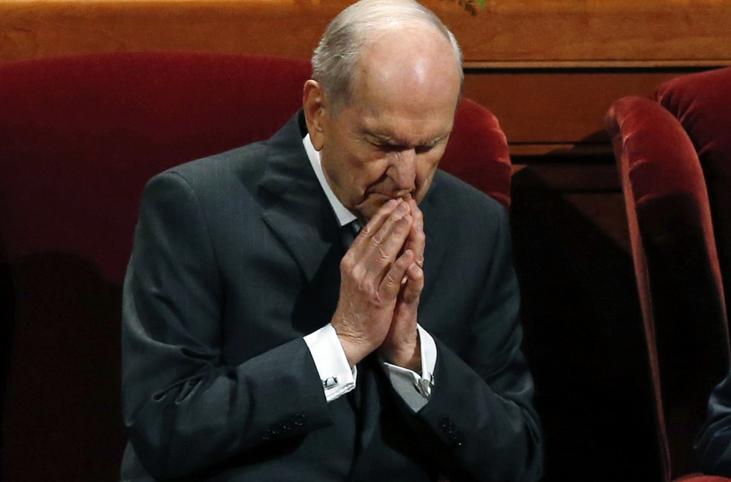 FILE - In this Oct. 6, 2018, file photo, The Church of Jesus Christ of Latter-day Saints President Russell M. Nelson prays during the church's twice-a...