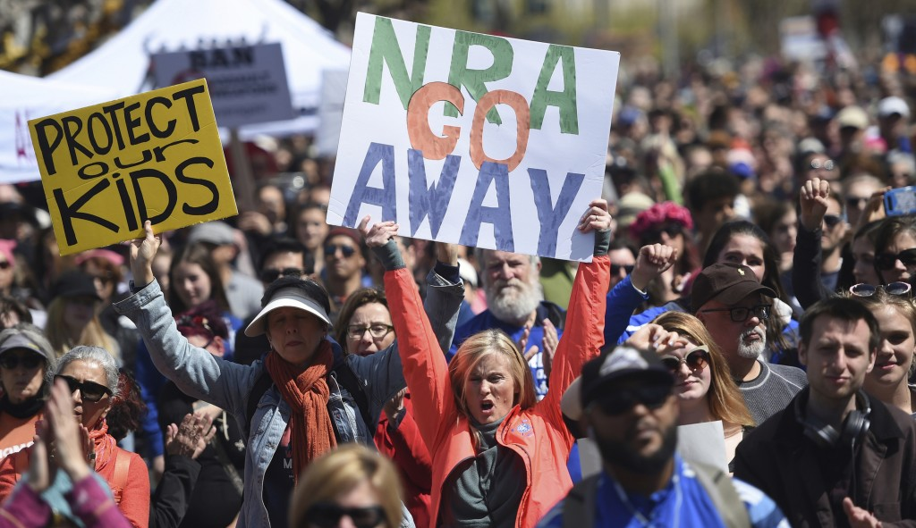 FILE - In this March 24, 2018, file photo, crowds of people participate in the March for Our Lives rally in support of gun control in San Francisco. T...
