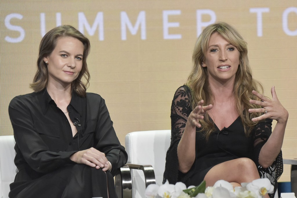 "FILE - This Aug. 2, 2019 file photo shows Laura Solon, left, and Daisy Haggard participating in the Showtime ""Back To Life"" panel during the Summer 20..."