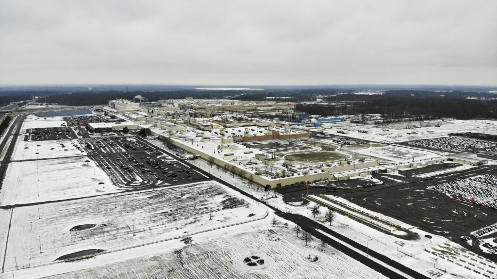FILE - In this Nov. 28, 2018, file photo snow covers the perimeter of the General Motors' Lordstown plant in Lordstown, Ohio. General Motors is sellin...