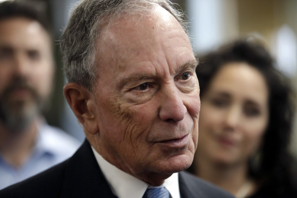 FILE - In this Jan. 29, 2019 file photo, potential Democratic presidential candidate Michael Bloomberg speaks to workers during a tour of the WH Bagsh...