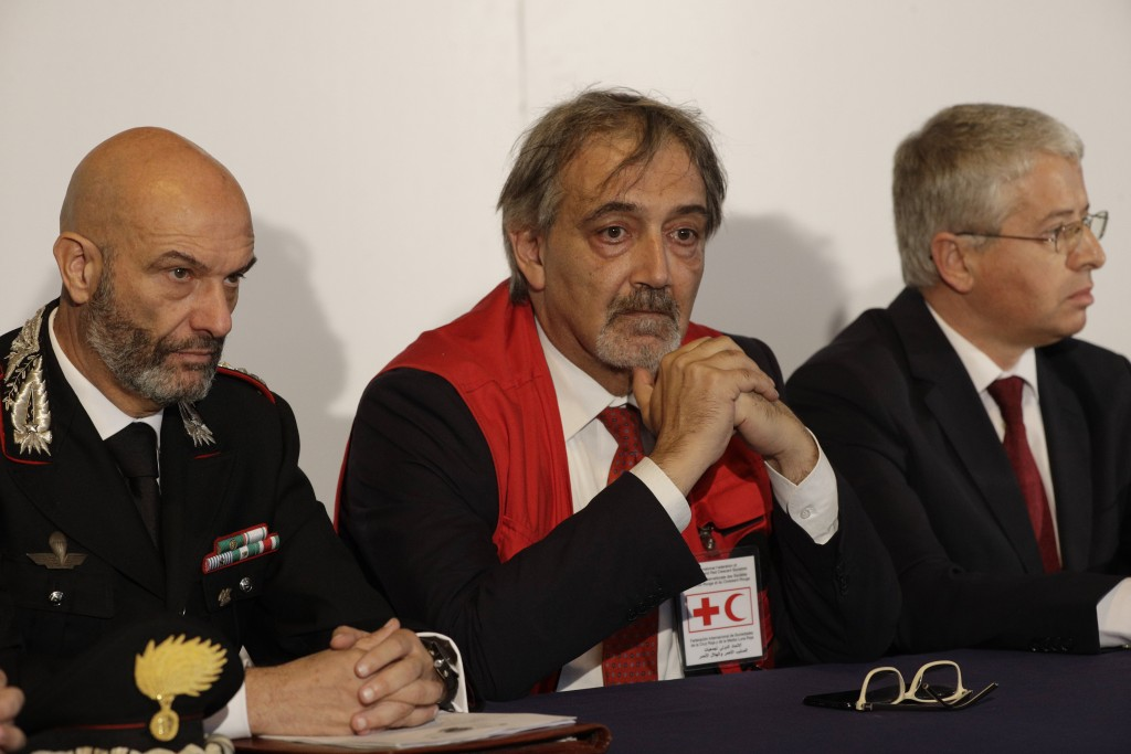 From left, Carabinieri Anti-terrorism Colonel Marco Rosi, IFRC President Francesco Rocca, and Albania's Interior Minister Sander Lleshaj, attend a pre...