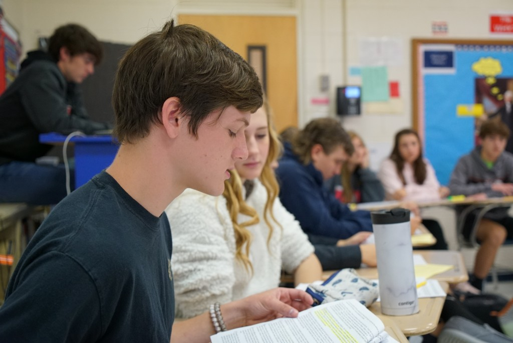Tenth-grader Landon Hackney makes an argument during civics class at Chatham Central High School in Bear Creek, N.C., on Tuesday, Nov. 5, 2019. The cl...
