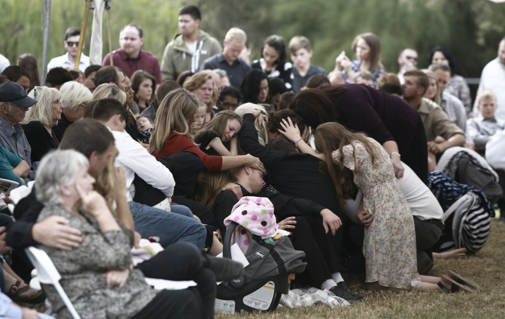 People attend the funeral of Dawna Ray Langford, 43, and her sons Trevor, 11, and Rogan, 2, who were killed in an ambush earlier this week, in La Mora...