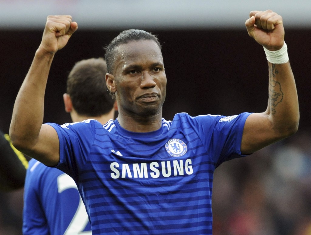 FILE - In this Sunday, April 26, 2015 file photo, Chelsea's Didier Drogba during the English Premier League soccer match between Arsenal and Chelsea a...