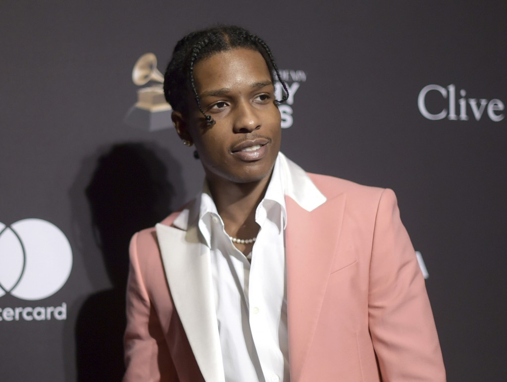 FILE - In this Feb. 9, 2019 file photo, A$AP Rocky attends the Pre-Grammy Gala And Salute To Industry Icons in Beverly Hills, Calif. American rapper A...