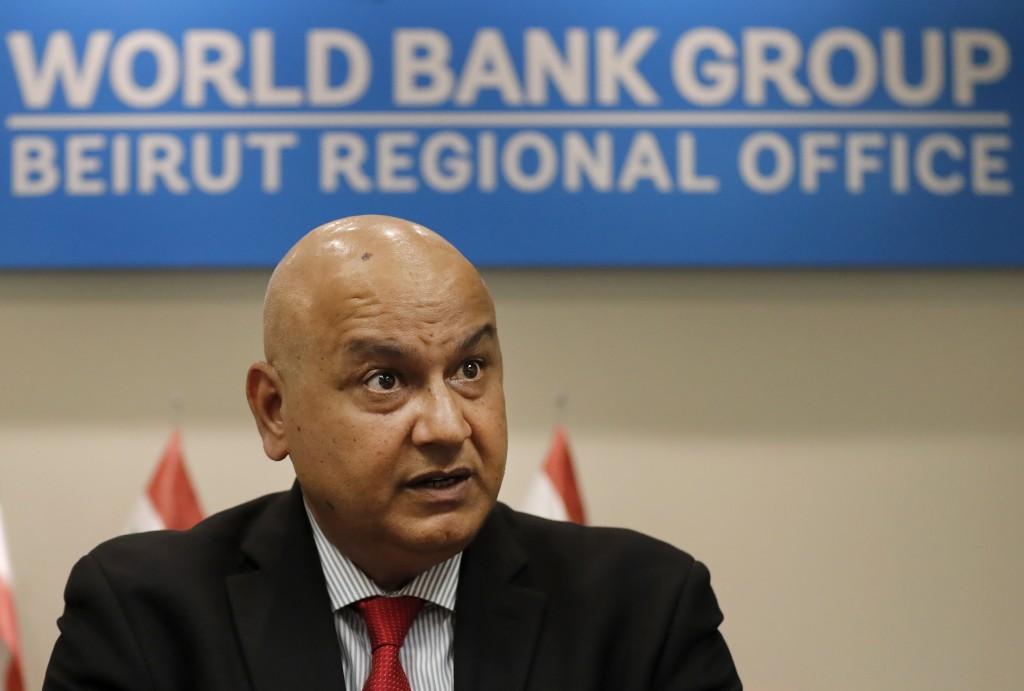 World Bank Regional Director Saroj Kumar Jha, speaks during an interview with the Associated Press, in Beirut, Lebanon, Friday, Nov. 8, 2019. Jha said...