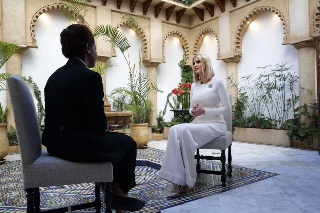 Ivanka Trump, the daughter and senior adviser to U.S. President Donald Trump, is interviewed by the Associated Press, Friday, Nov. 8, 2019, in Rabat, ...