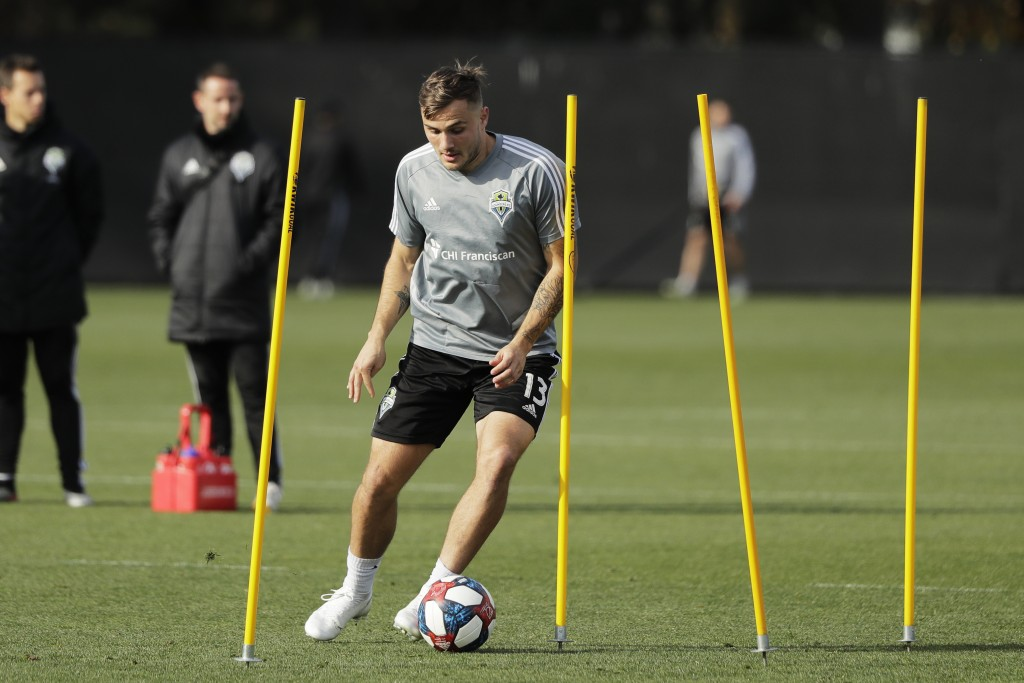 Seattle Sounders forward Jordan Morris dribbles the ball during a training session Friday, Nov. 8, 2019, in Tukwila, Wash. The Sounders are scheduled ...