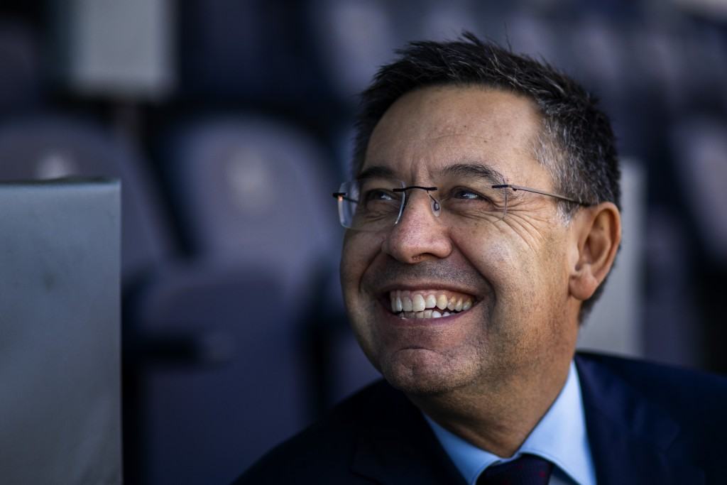 In this Friday, Nov. 8, 2019, photo, President of FC Barcelona Josep Bartomeu smiles during and interview with the Associated Press at the Camp Nou st...