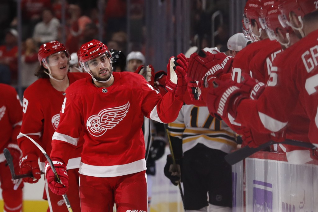 Detroit Red Wings center Robby Fabbri greets teammates after scoring during the first period of an NHL hockey game against the Boston Bruins, Friday, ...