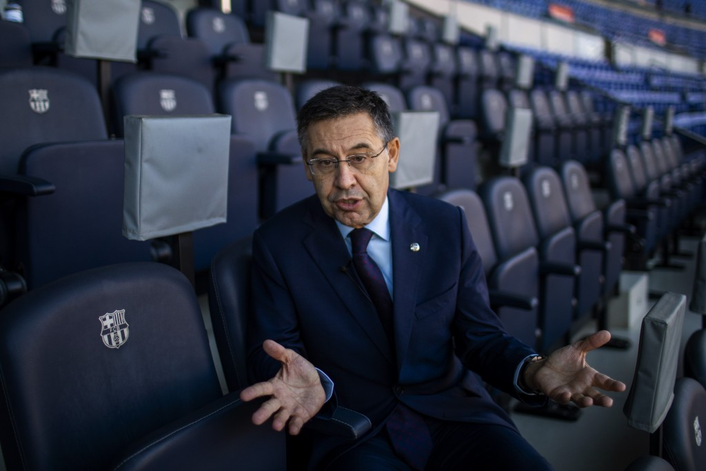 In this Friday, Nov. 8, 2019, photo, President of FC Barcelona Josep Bartomeu speaks during and interview with the Associated Press at the Camp Nou st...