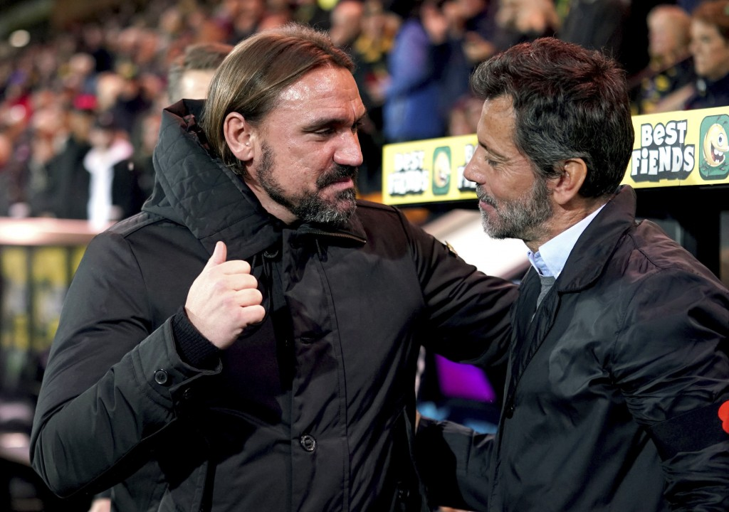 Watford manager Quique Sanchez Flores, right, and Norwich City manager Daniel Farke greet each other prior to the English Premier League soccer match ...