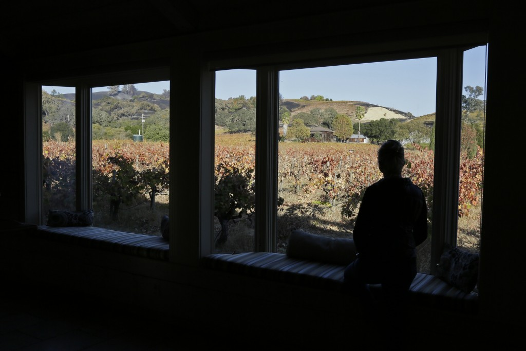 In this Wednesday, Nov. 6, 2019 photo, Gina Lathrum stands in the tasting room of Limerick Lane Wines and sees how close the recent wildfires in the h...