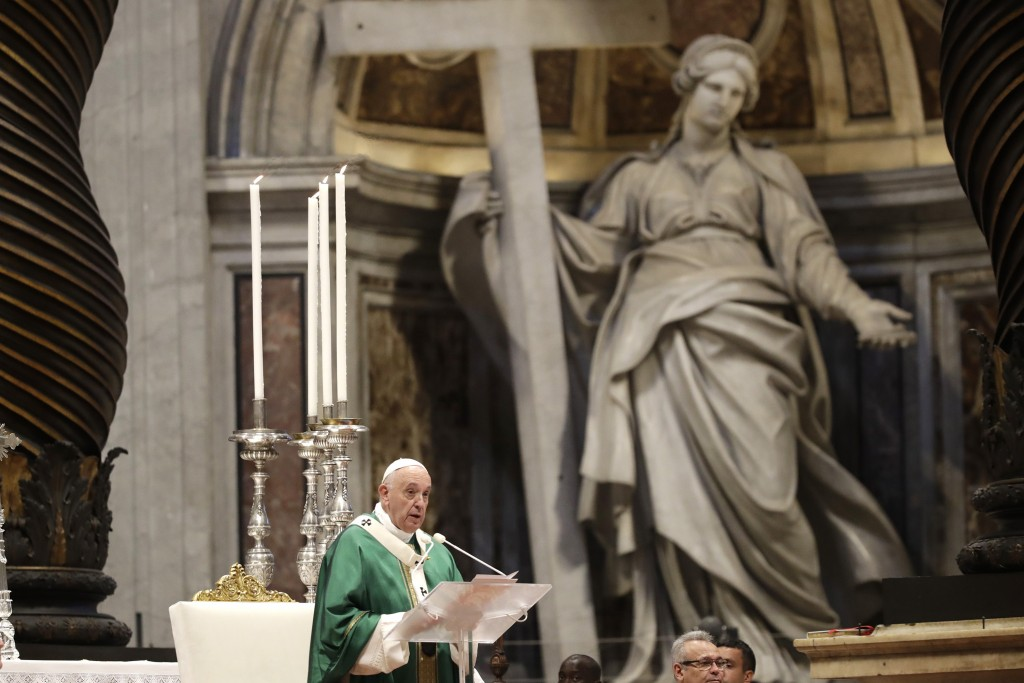 FILE - In this Oct. 27, 2019, file photo, Pope Francis delivers his speech during a Mass for the closing of Amazon synod in St. Peter's Basilica at th...