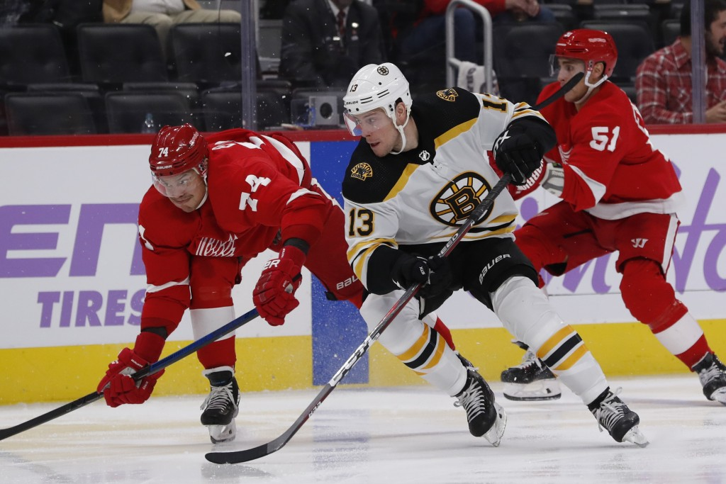 Detroit Red Wings defenseman Madison Bowey (74) and Boston Bruins center Charlie Coyle (13) chase the puck during the third period of an NHL hockey ga...