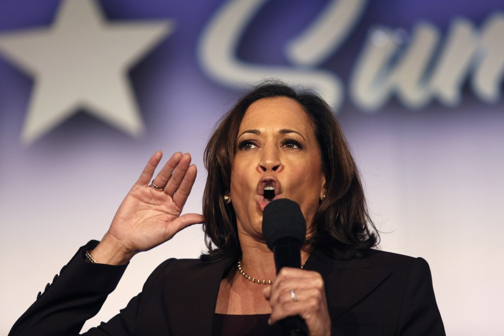 FILE - In this Oct. 4, 2019, file photo, Democratic presidential candidate Sen. Kamala Harris, D-Calif., speaks at the SEIU Unions For All Summit in L...