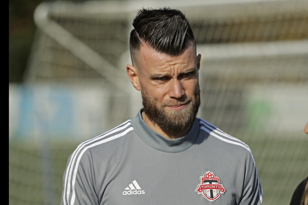 Toronto FC goalkeeper Quentin Westberg walks on the pitch during a training session, Friday, Nov. 8, 2019, in Tukwila, Wash. Toronto FC will face the ...