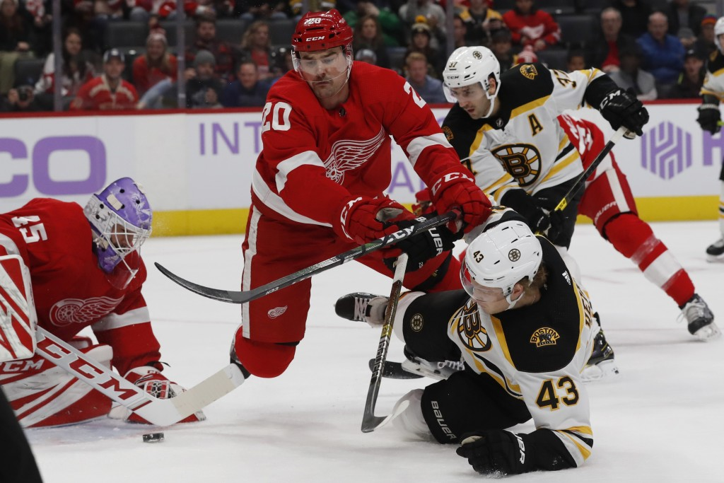 Detroit Red Wings defenseman Dylan McIlrath (20) checks Boston Bruins left wing Danton Heinen (43) in front of the net during the first period of an N...