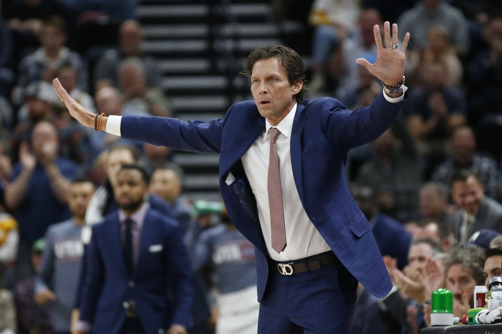 Utah Jazz coach Quin Snyder directs his team during the first half of the team's NBA basketball game agains the Milwaukee Bucks on Friday, Nov. 8, 201...