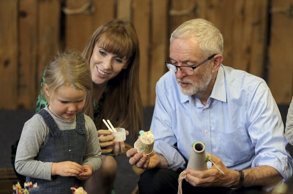 Labour leader Jeremy Corbyn and Shadow Education Secretary Angela Rayner during a visit to the Scrap Creative Reuse Arts Project while on the General ...