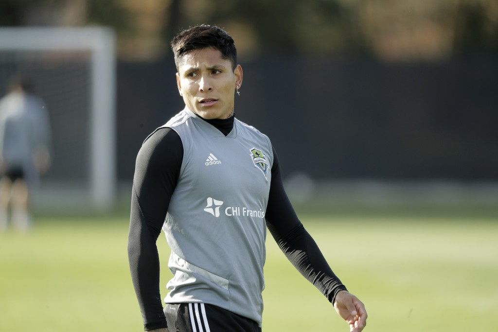Seattle Sounders forward Raul Ruidiaz walks on the pitch during a training session Friday, Nov. 8, 2019, in Tukwila, Wash. The Sounders will face Toro...