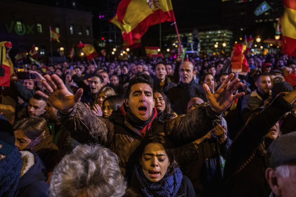 Spain's far-right Vox Party supporters attend the ...