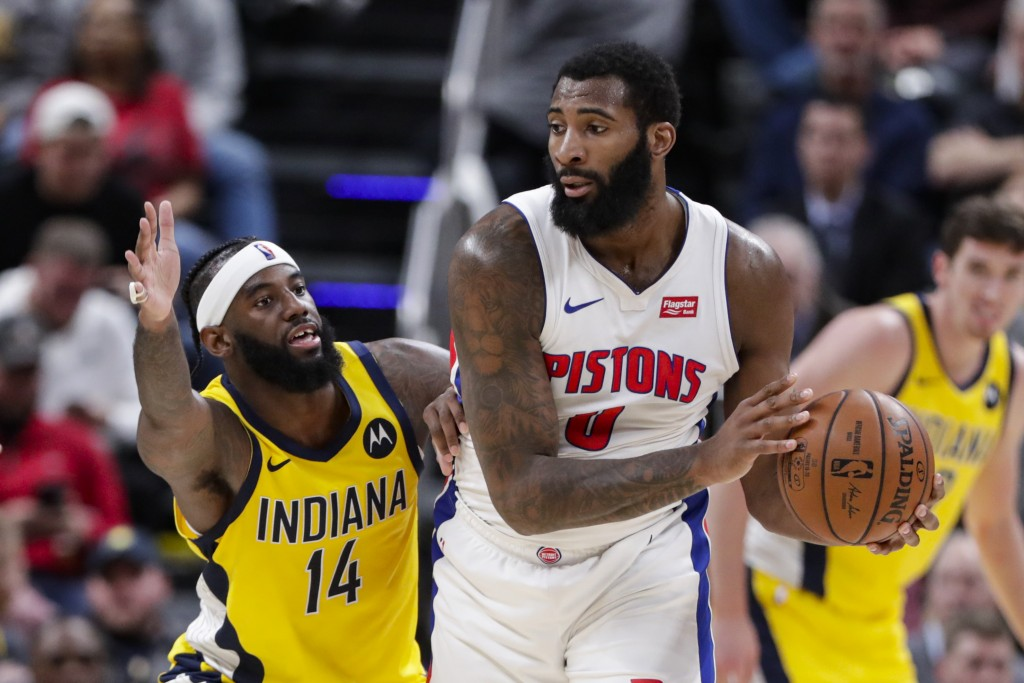 Indiana Pacers forward JaKarr Sampson (14) defends against Detroit Pistons center Andre Drummond (0) during the second half of an NBA basketball game ...