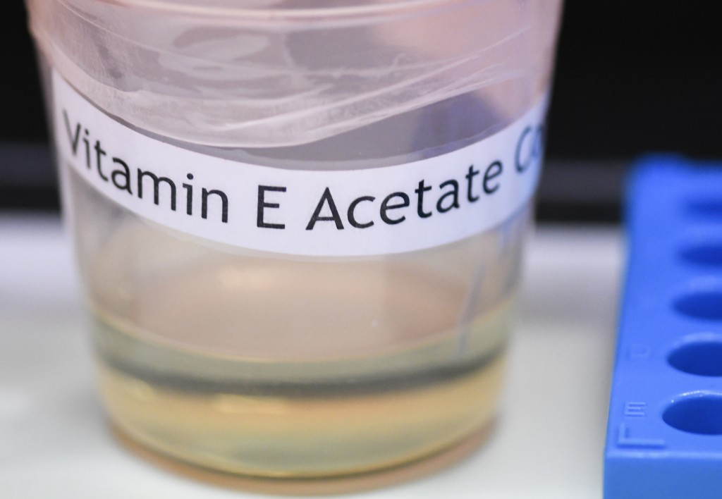 This Monday, Nov. 4, 2019 photo shows a vitamin E acetate sample during a tour of the Medical Marijuana Laboratory of Organic and Analytical Chemistry...