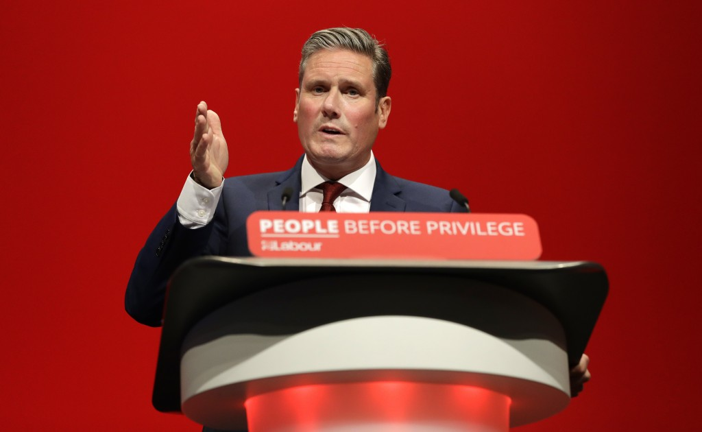 FILE - In this Monday, Sept. 23, 2019 file photo, Britain's Shadow Brexit Secretary Keir Starmer speaks on stage during the Labour Party Conference at...