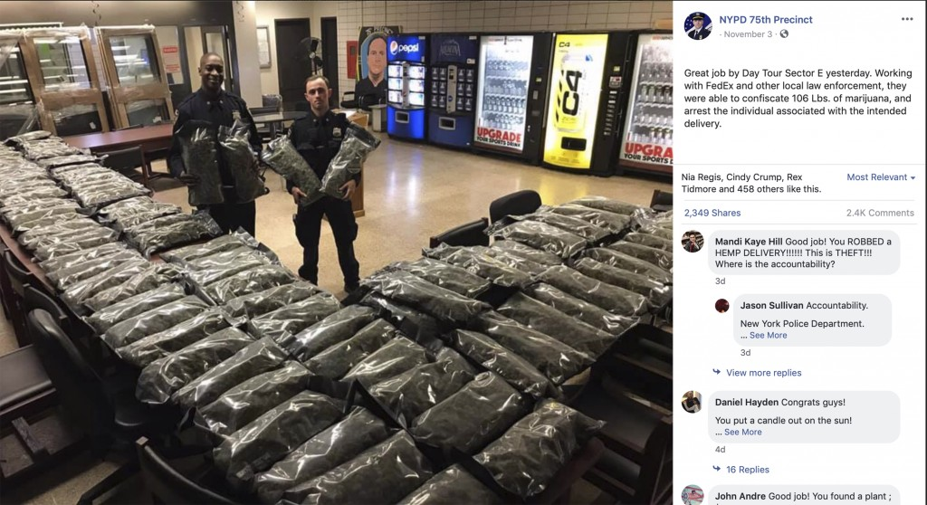 In this undated photo taken from the New York Police Department Facebook page,  officers stand by what NYPD thought was marijuana when they confiscate...