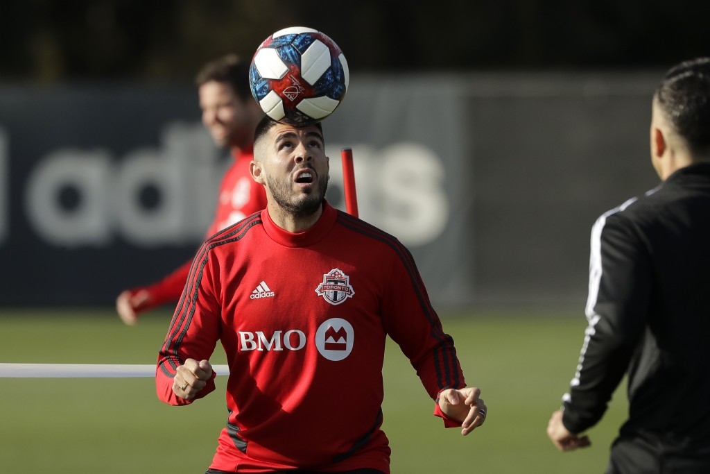 Toronto FC midfielder Alejandro Pozuelo heads the ball during a training session Friday, Nov. 8, 2019, in Tukwila, Wash. Toronto FC will face the Seat...