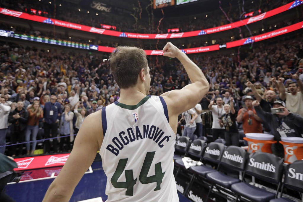 Utah Jazz forward Bojan Bogdanovic (44) pumps his fist to the fans after scoring the winning shot in the team's NBA basketball game against the Milwau...