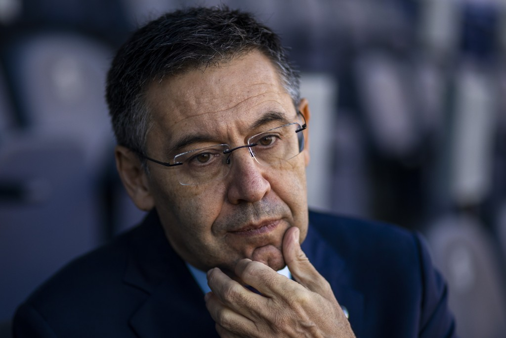 In this Friday, Nov. 8, 2019, photo, President of FC Barcelona Josep Bartomeu pauses during and interview with the Associated Press at the Camp Nou st...