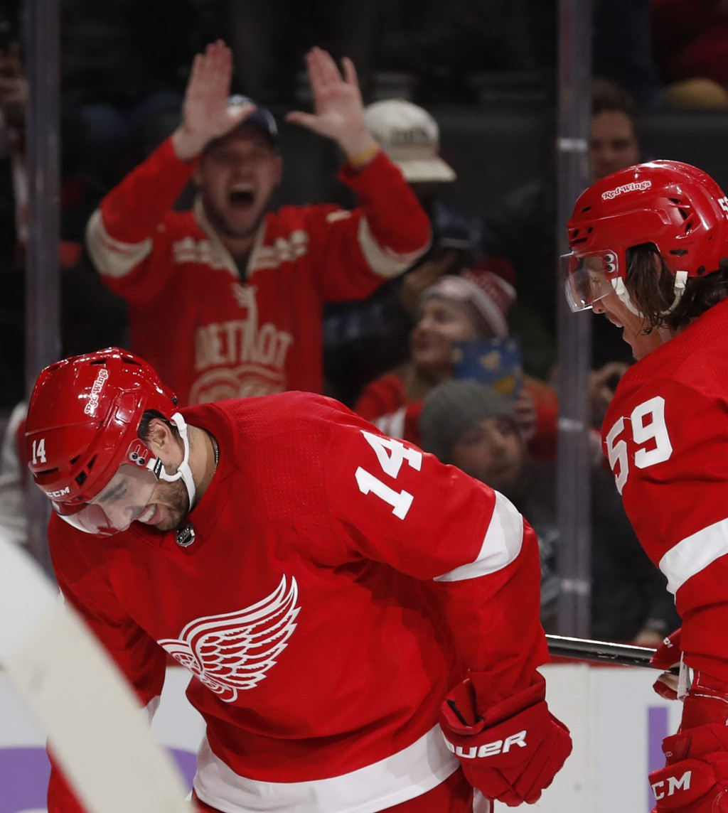 Detroit Red Wings center Robby Fabbri (14) reacts after scoring his second goal of the night during the second period of an NHL hockey game against th...