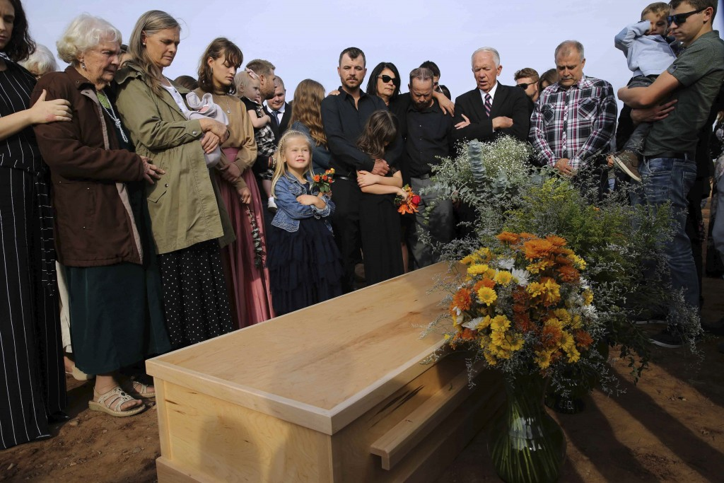 Family and friends attend the burial service of Christina Langford Johnson the last victim of a cartel ambush that killed nine American women and chil...