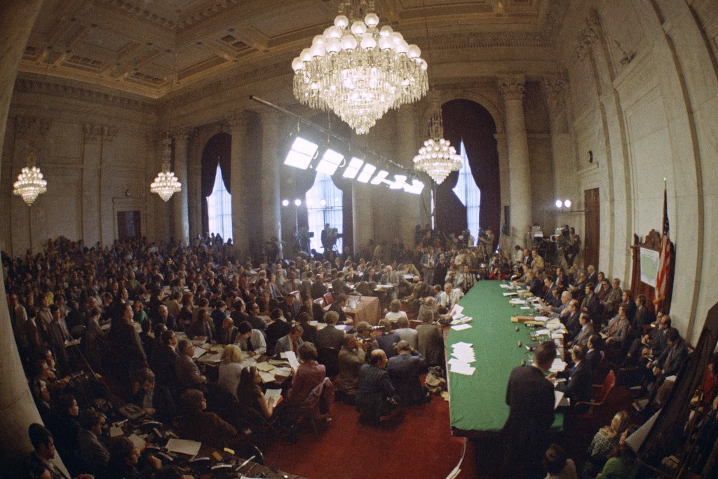 FILE - In this May 18, 1973, file photo, the hearing of the Senate select committee on the Watergate case on Capitol Hill in Washington. In 1973, mill...