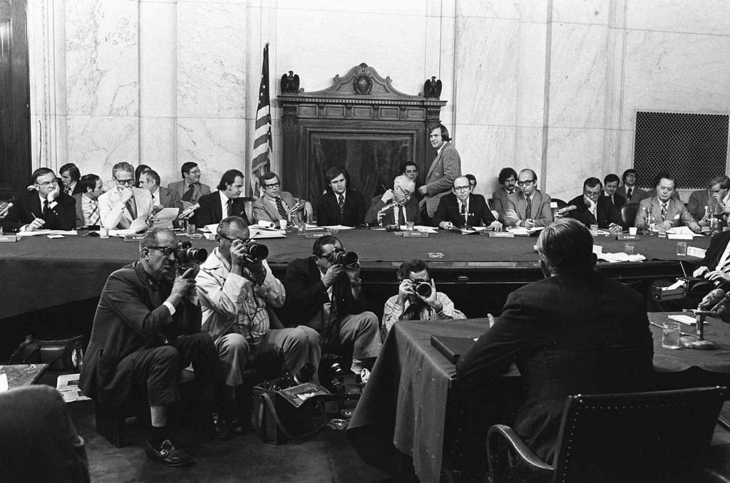 FILE - In this Aug. 3, 1973, file photo, the Senate Watergate Committee hearings continueon Capitol Hill in Washington.. From left are: Sen. Lowell P....
