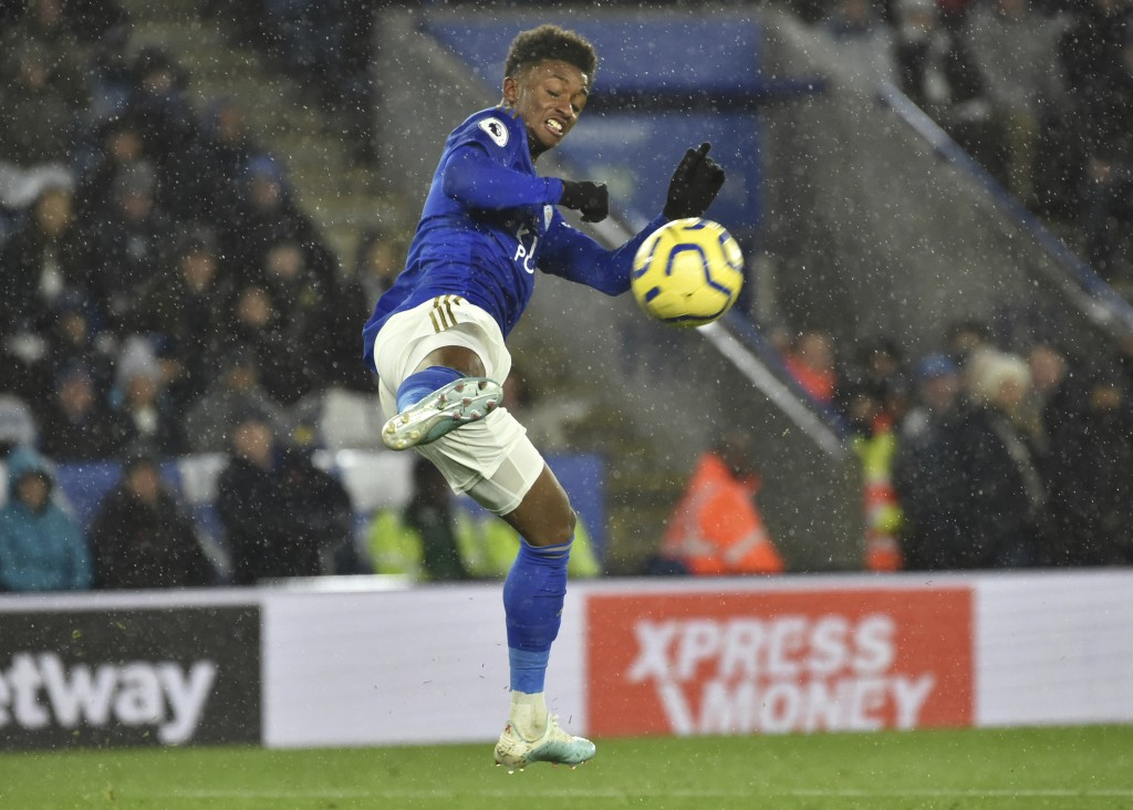 Leicester's Demarai Gray controls the ball during the English Premier League soccer match between Leicester City and Arsenal at the King Power Stadium...