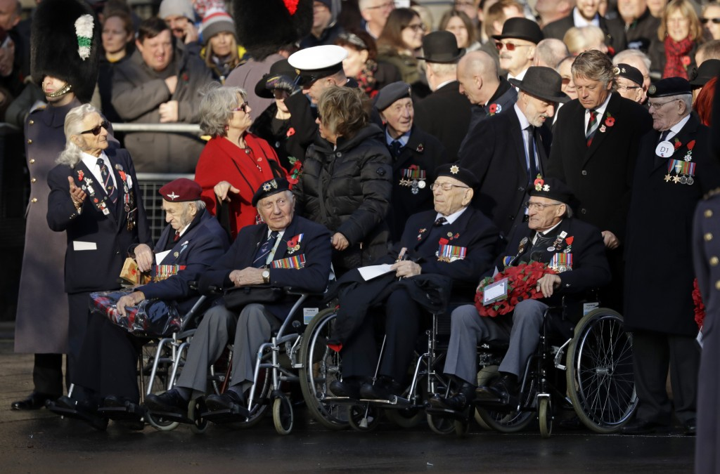 Military veterans arrive for the Remembrance Sunday ceremony at the Cenotaph in Whitehall in London, Sunday, Nov. 10, 2019. Remembrance Sunday is held...