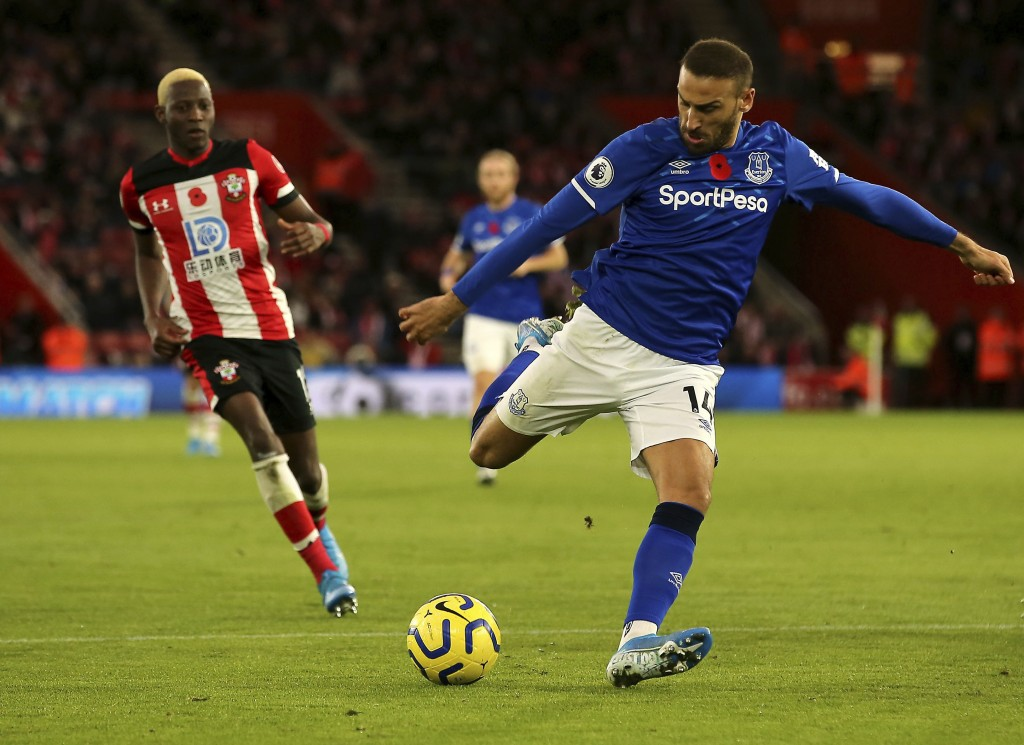 Everton's Cenk Tosun shoots towards goal, during the English Premier League soccer match between Southampton and Everton, at St Mary's Stadium, in Sou...