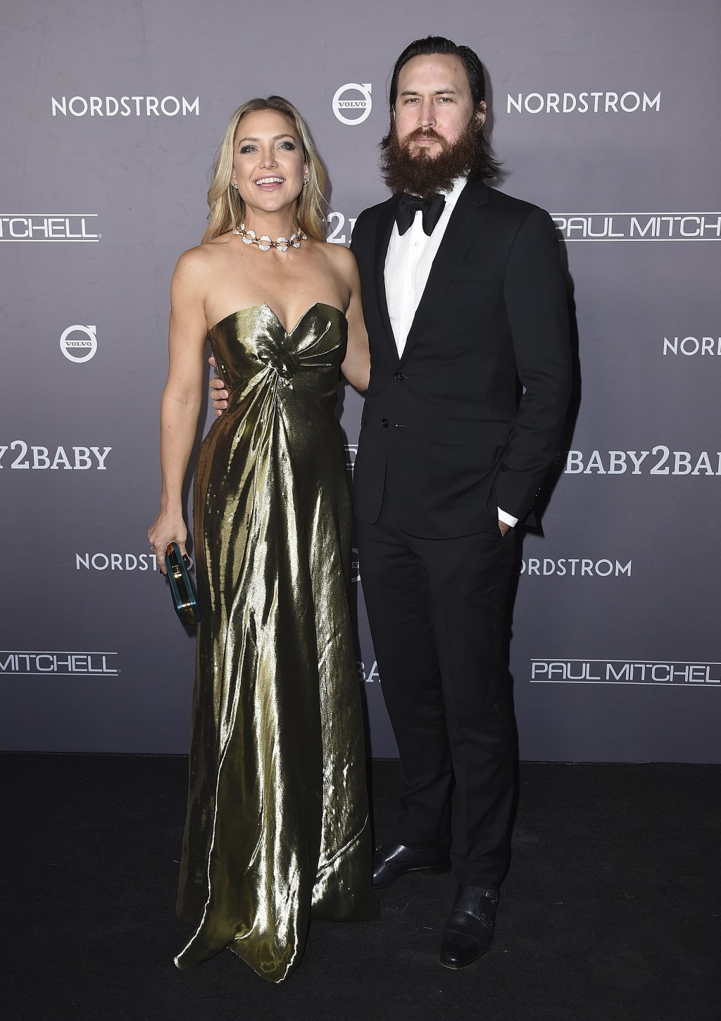 Kate Hudson and Danny Fujikawa arrive at the 2019 Baby2Baby Gala on Saturday, Nov. 9, 2019, in Culver City, Calif. (Photo by Jordan Strauss/Invision/A...