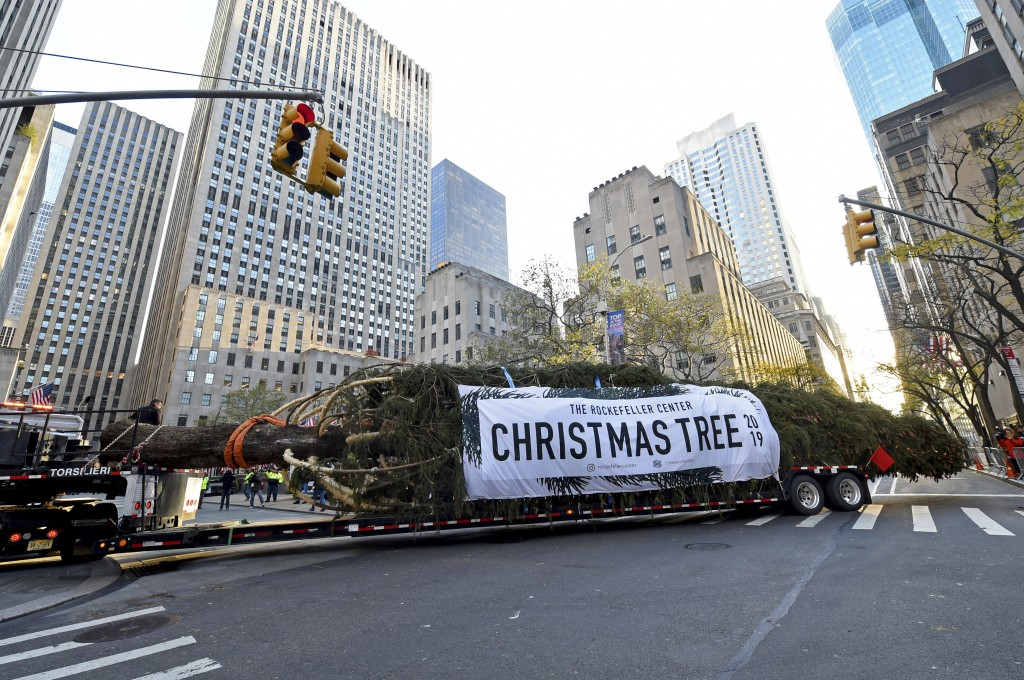 IMAGE DISTRIBUTED FOR TISHMAN SPEYER -  The 2019 Rockefeller Center Christmas tree, a 77-foot tall, 12-ton Norway Spruce from Florida, N.Y., pulls int...
