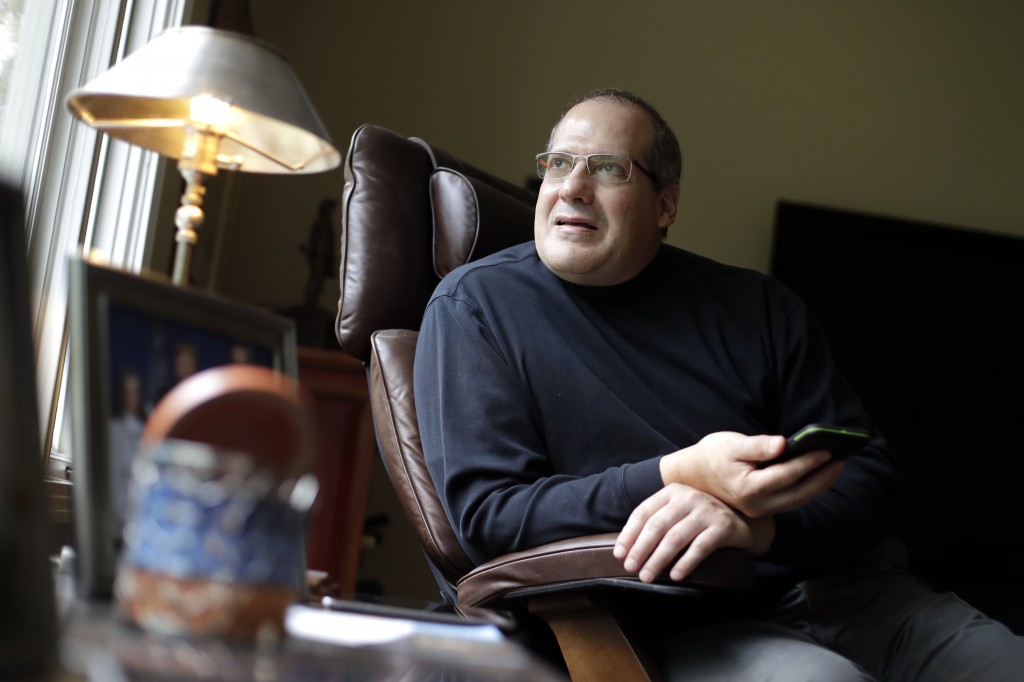 This Oct. 28, 2019, photo, shows David Dell'Aquila in his home Monday, Oct. 28, 2019, in Nashville, Tenn. Dell'Aquila is a donor to the NRA who is now...