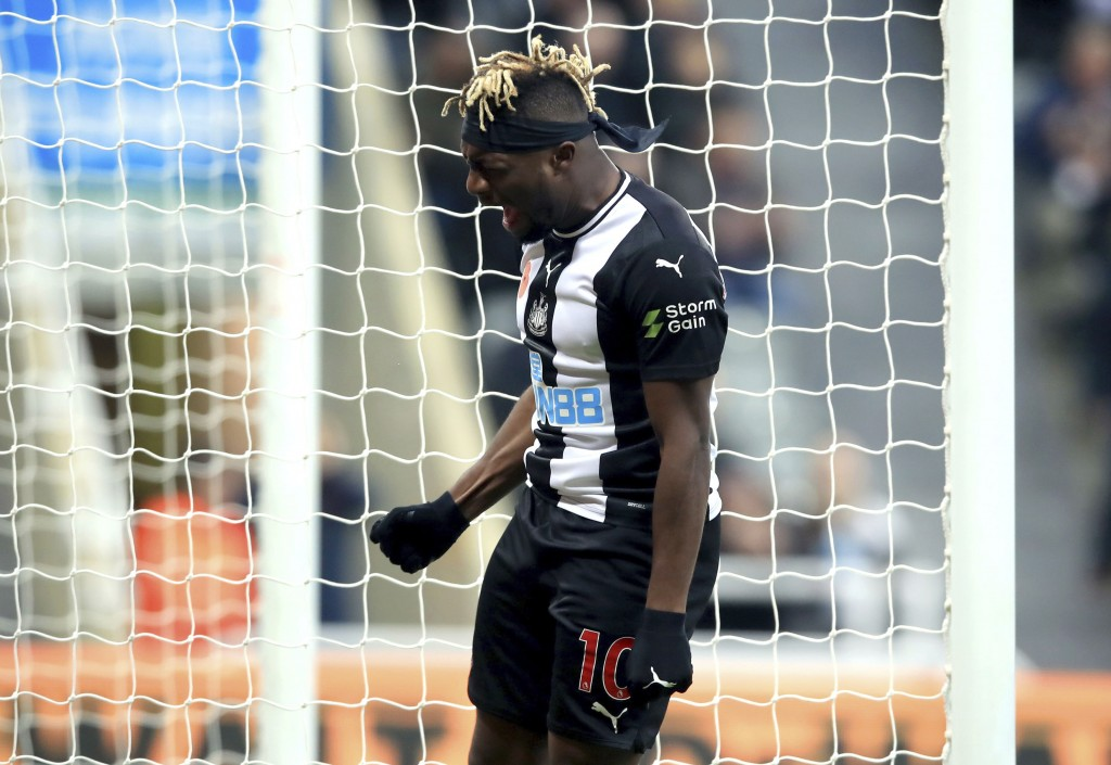 Newcastle United's Allan Saint-Maximin reacts after a missed chance on goal, during the English Premier League soccer match between Newcastle and Bour...