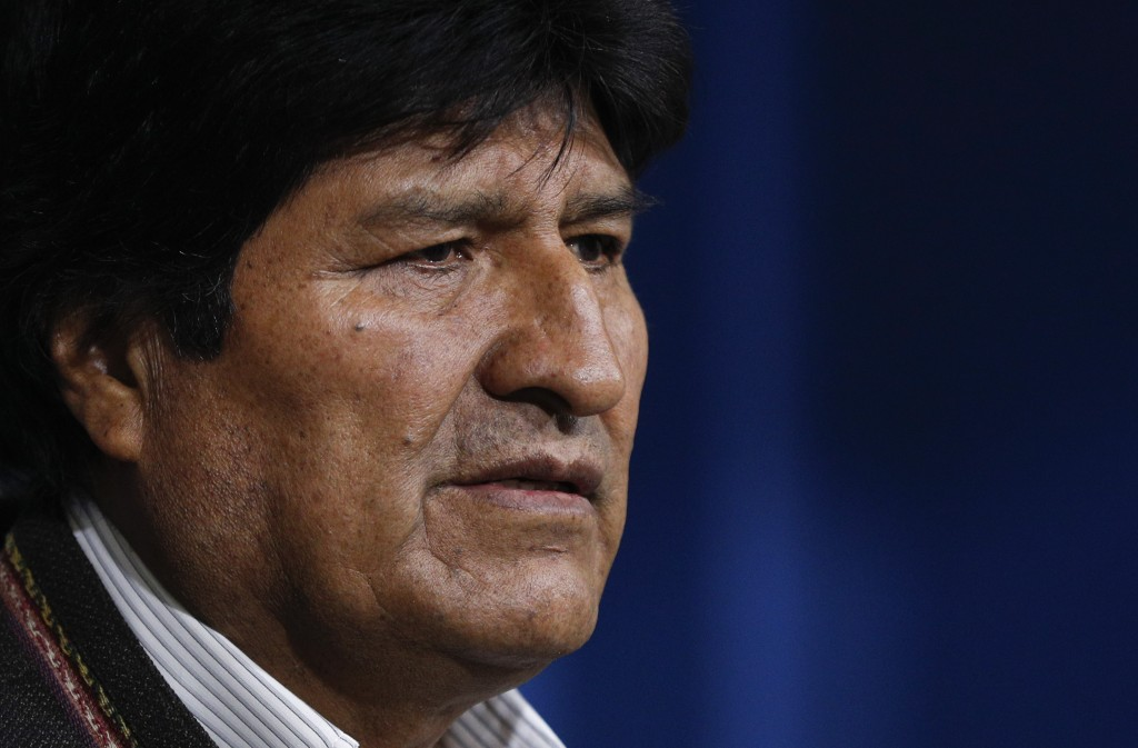 Bolivia's President Evo Morales looks on during a press conference in La Paz, Bolivia, Sunday, Nov. 10, 2019. Morales calls for new elections in Boliv...