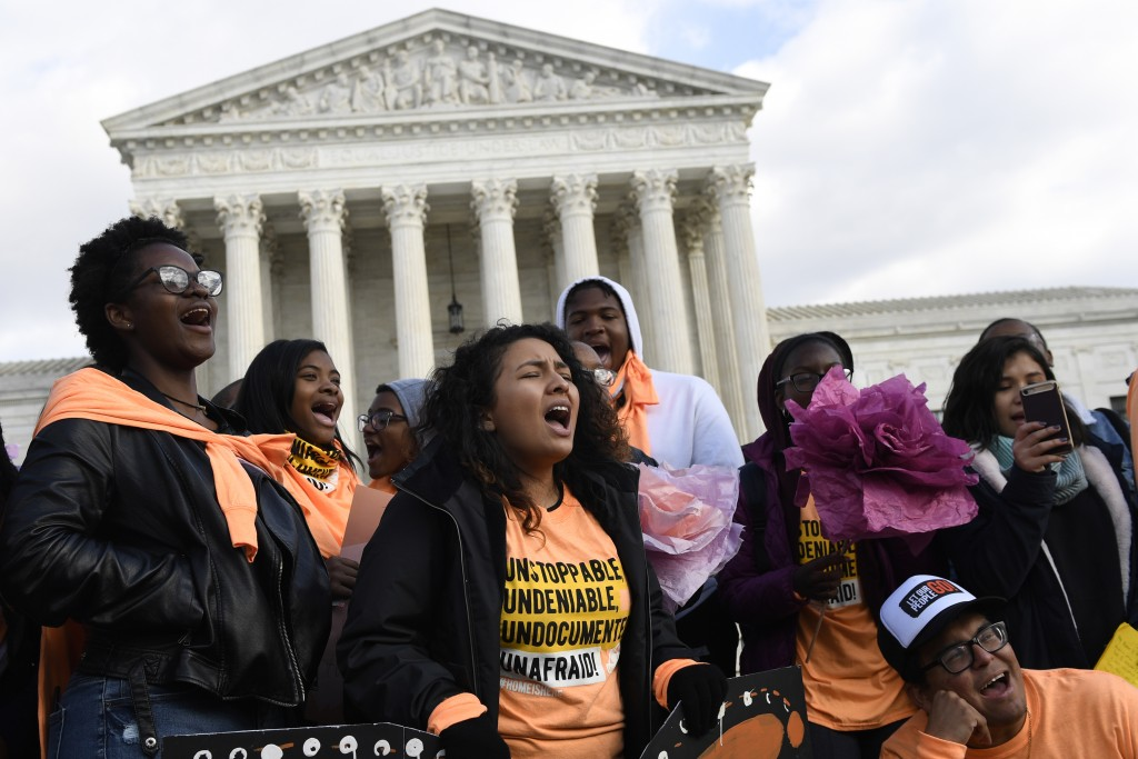 People protest outside the Supreme Court in Washington, Friday, Nov. 8, 2019. The Supreme Court on Tuesday takes up the Trump administration's plan to...